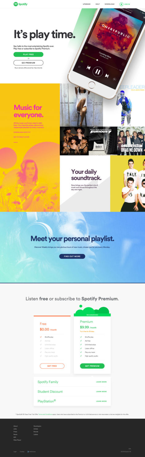 ¿Te acuerdas cuando Spotify comenzó? Así ha evolucionado con los años - 2015_spotify_homepage