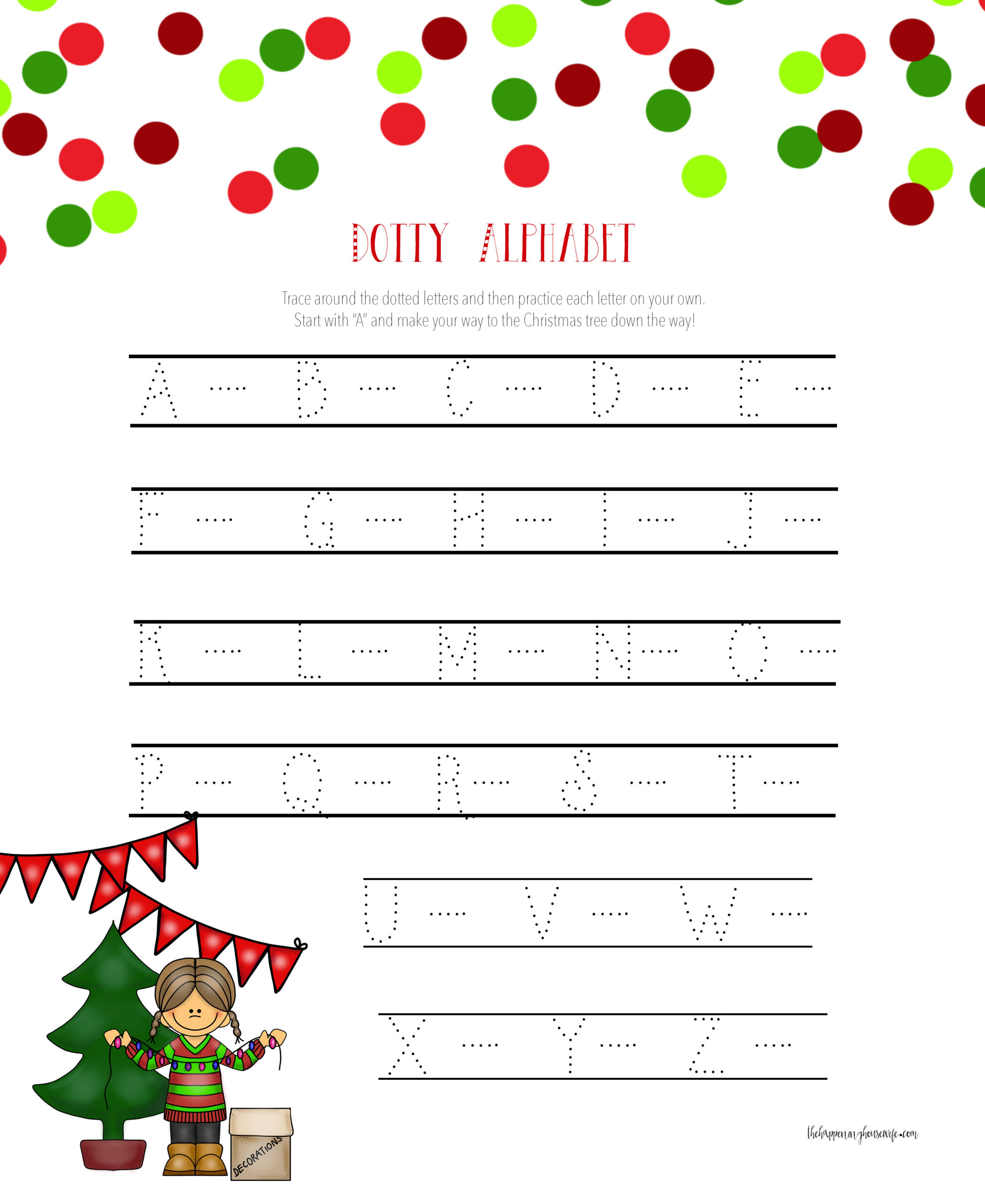 Christmas Dotty Alphabet Worksheet Printable