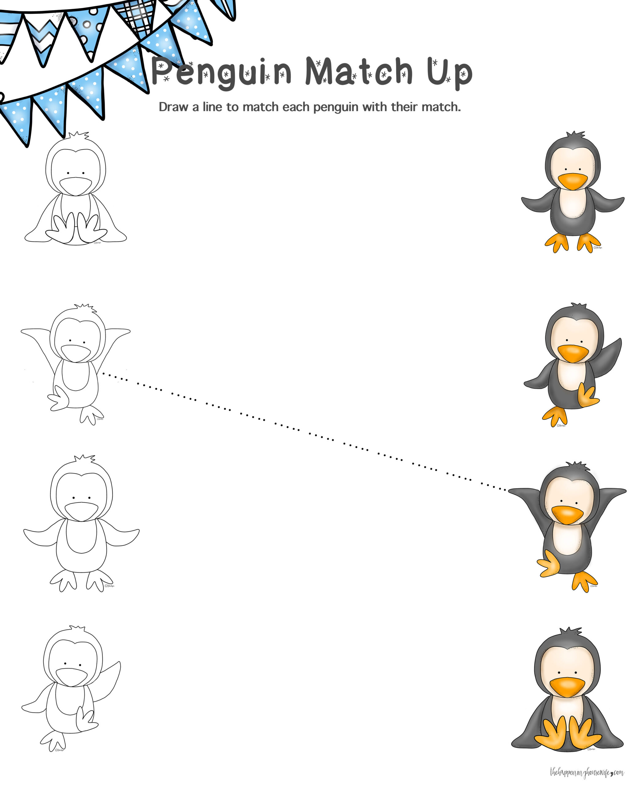 Penguin Match Up Worksheet