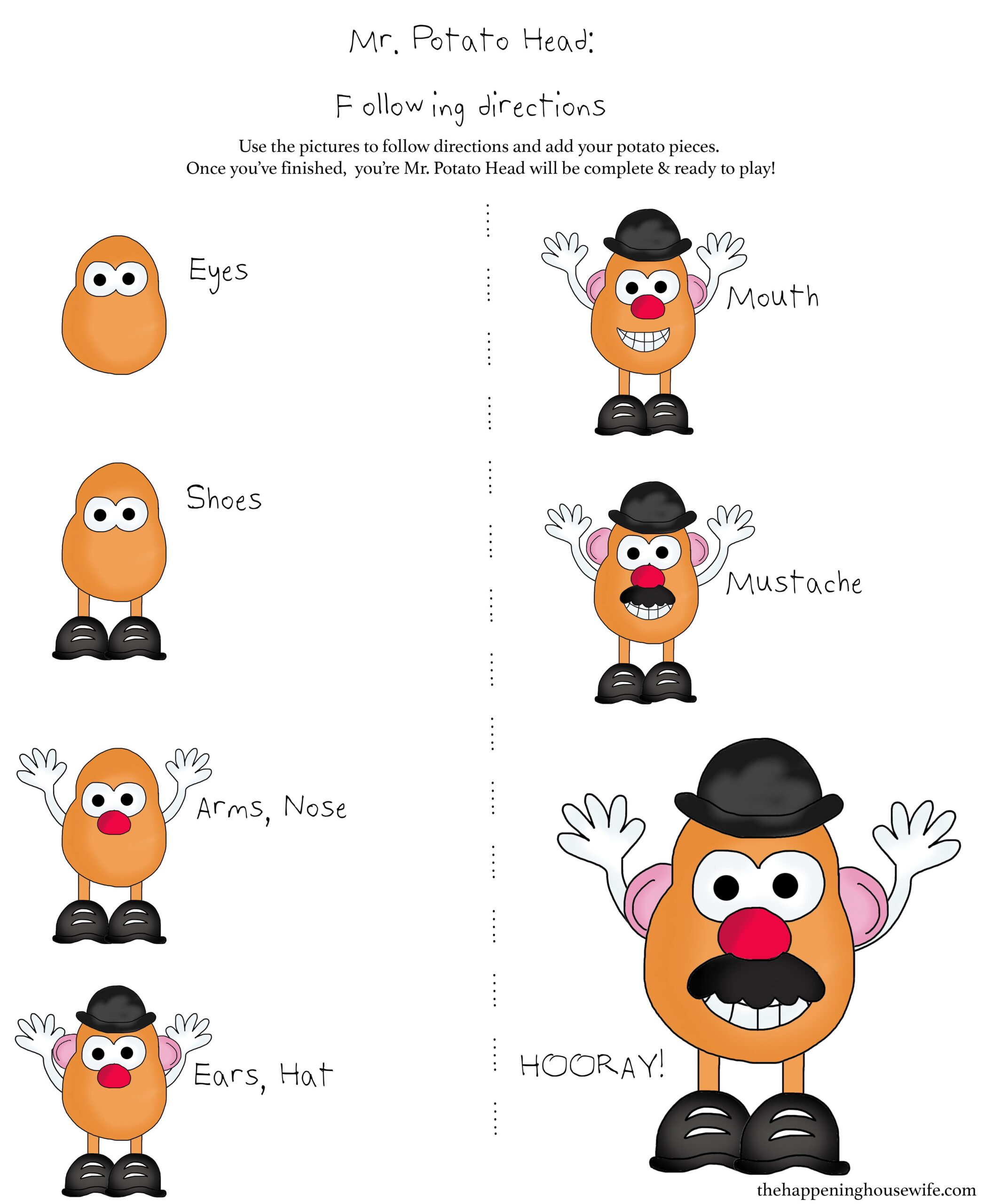 Potato Head Following Directions Worksheet
