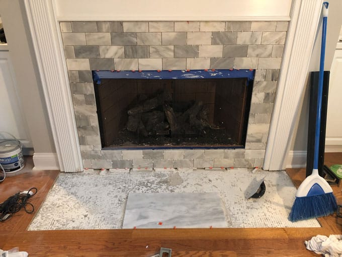 diy tiling a fireplace surround what