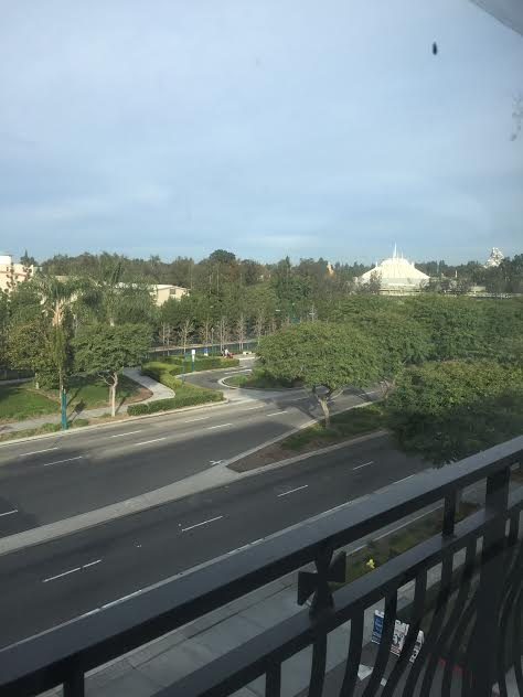 View from the second floor of Grand Legacy At The Park's new suites facing Disneyland.