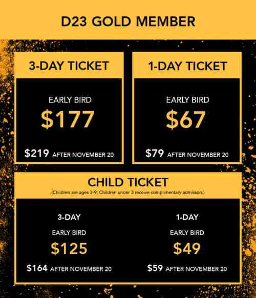 D23 Expo 2019 Gold Member ticket prices