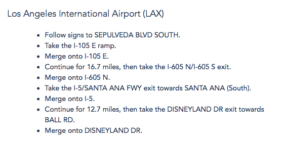 LAX to Disneyland driving directions.