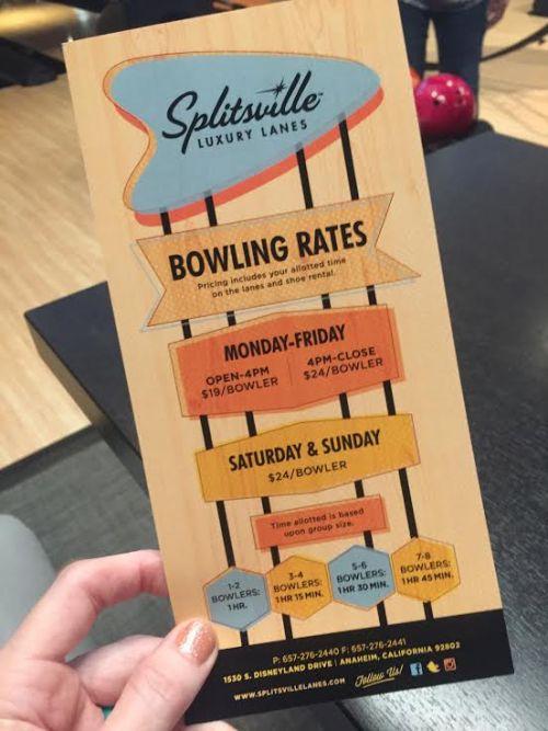 Disneyland bowling prices