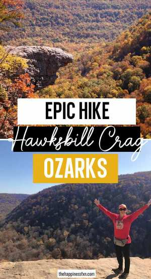 top photo: view of hawksbill crag, bottom photo: girl with arms wide on whitaker point with ozark vistas