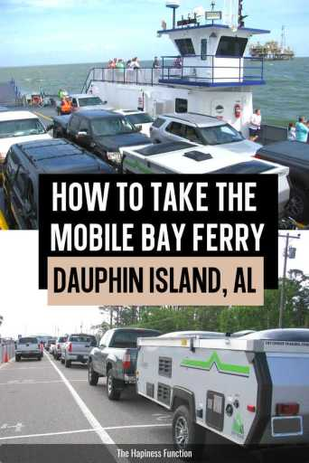 top photo: Mobile Bay Ferry leaving Dauphin Island Alabama with cars and camper on board, bottom photo: cars waiting to board Mobile Bay Ferry