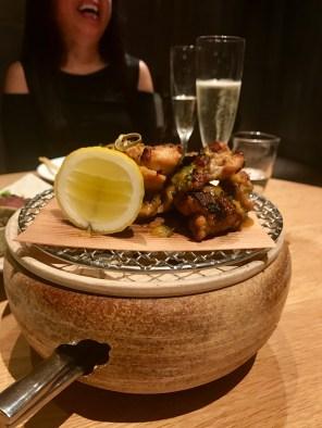 Baby chicken, lemon, miso and garlic soy