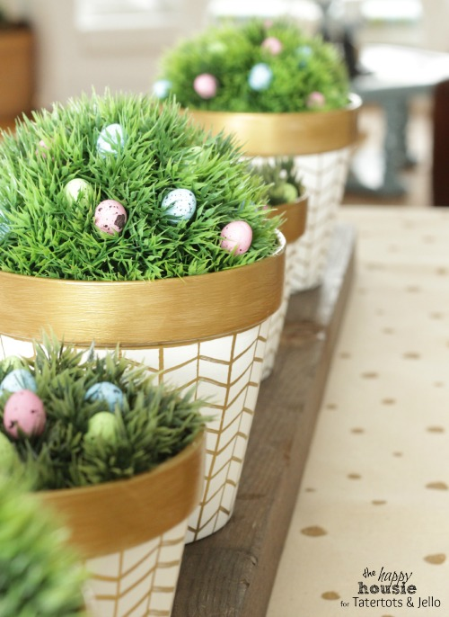 White and Gold Herringbone Pots for Spring 2 by the happy housie for tatertots and jello