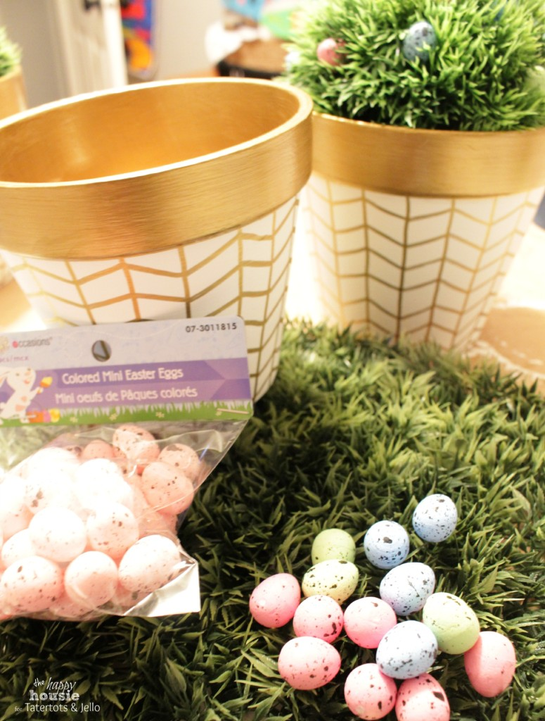White and Gold Herringbone Pots for Spring grass filler by the happy housie for tatertots and jello