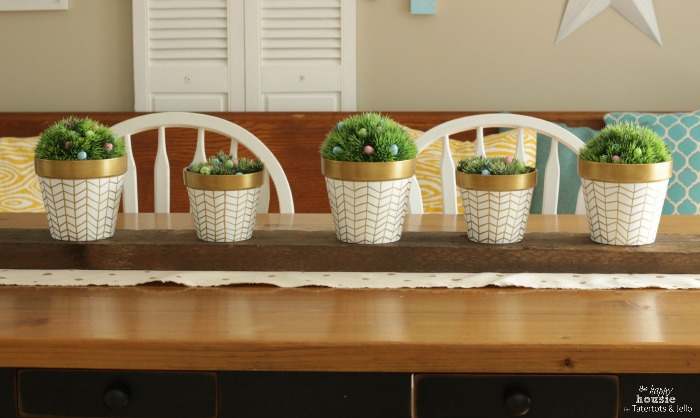 White and Gold Herringbone Pots for Spring on table by the happy housie for tatertots and jello