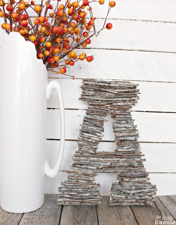 Twig Monogram from The Happy Housie [Favorite Fall Decor Projects at High-Heeled Love]