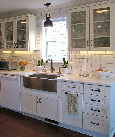 stainless steel farmhouse style kitchen sink inspiration on kitchens with farmhouse sinks id=91261
