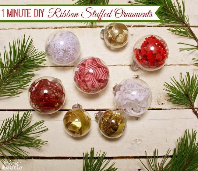 One Minute Ribbon Stuffed DIY Christmas Ornaments Amp Trim