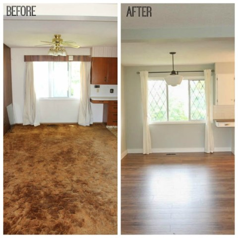 10 Great Tips for a DIY Laminate Flooring Installation   The Happy     Transforming a space with a DIY Laminate Flooring before and afters at  thehappyhousie com