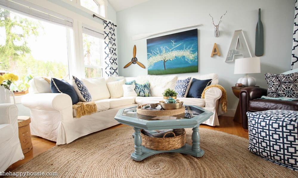 Cozy Coastal Navy And White Living Room Refresh