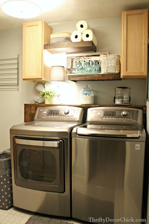 Beautifully Organized Small Laundry Rooms - The Happy Housie on Laundry Room Shelves Ideas  id=73163