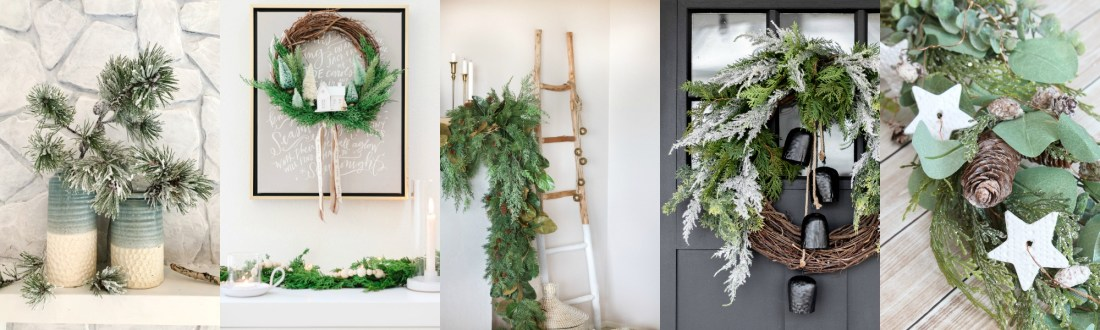 Christmas Village by popular Canada DIY blog, Fynes Designs: collage image of a grapevine Christmas wreath, blanket ladder, and pine bough garland.