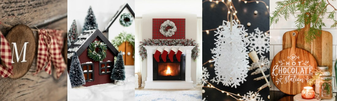 Christmas Village by popular Canada DIY blog, Fynes Designs: collage image of farmhouse Christmas village, red stockings hanging on a fireplace mantle, paper snowflakes, wooden cutting boards, and cloth garland.