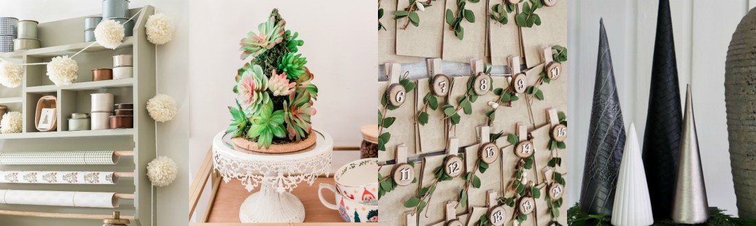 Christmas Village by popular Canada DIY blog, Fynes Designs: collage image of a pom pom garland, succulent Christmas tree, advent calendar, and black and gold cone trees.