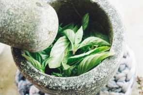 Thai Basil leaves in a bowl
