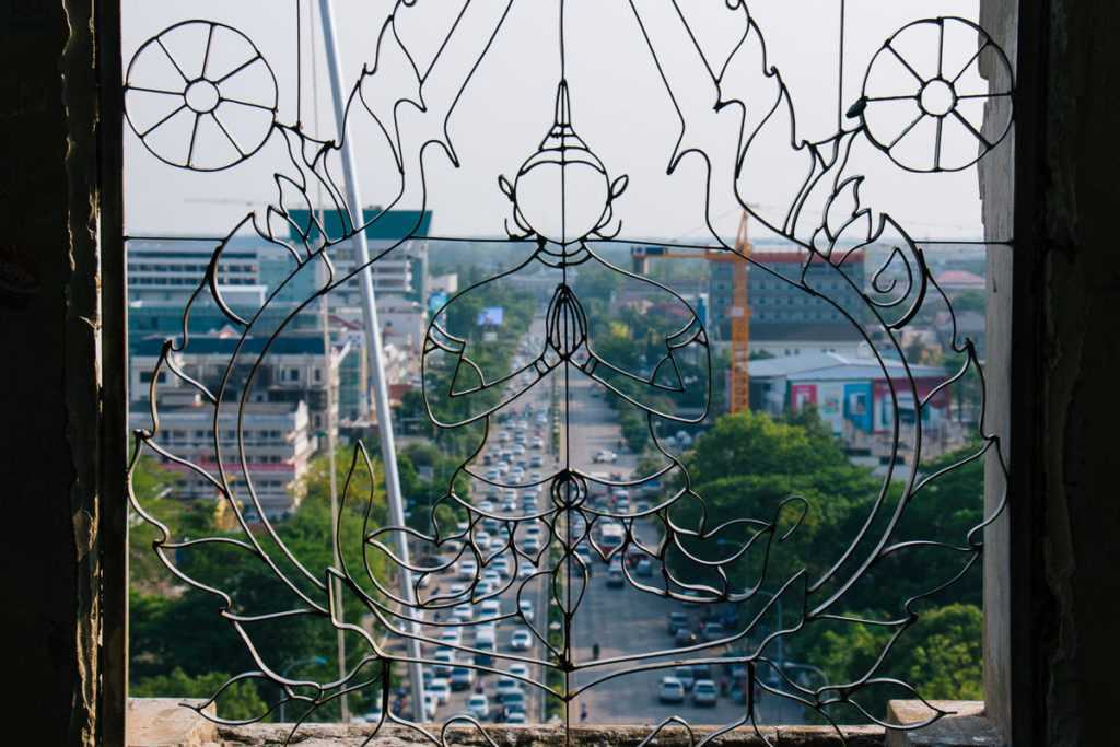 top view from patuxai monument in vientiane lao