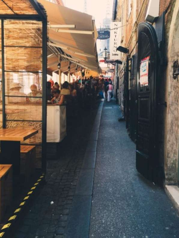 Street with restaurants in the Old Town of Zagreb