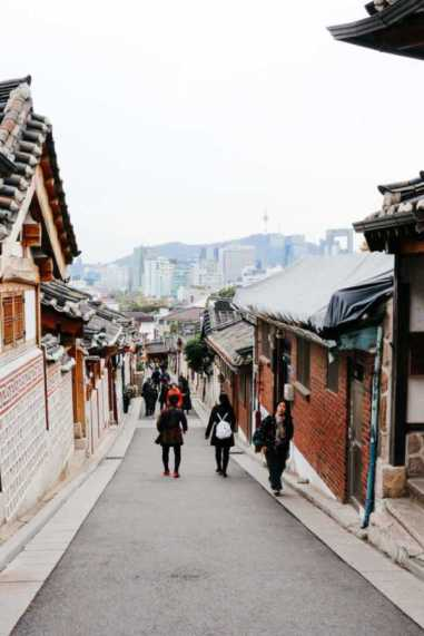 Downhill view, Bukchon Hanok Village, Seoul, Korea
