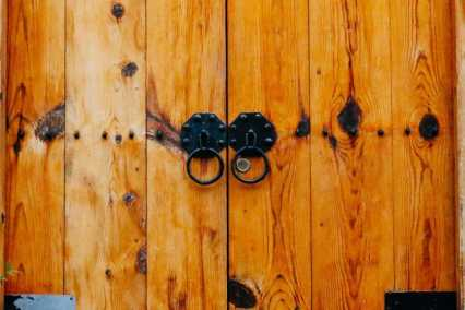 Wooden door in Hanok Village, Seoul, Korea