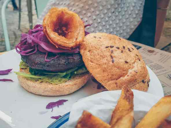 Vegan burger with coleslaw