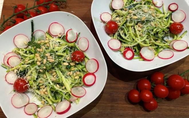 Courgetti and homemade pesto sauce