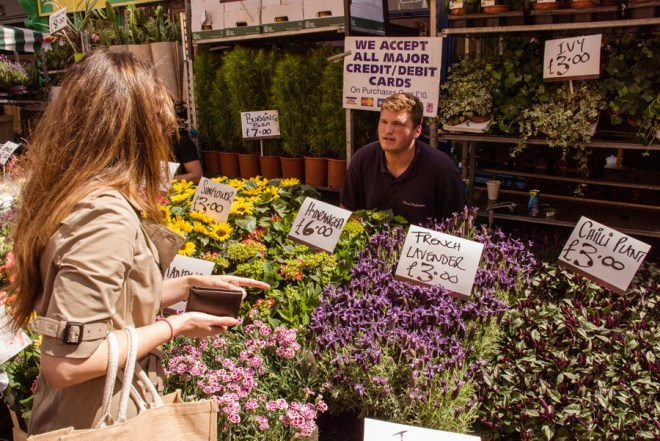 Buying flowers at Columbia Road Flower Market