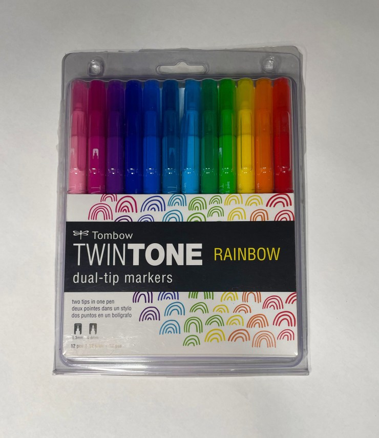 Twintone rainbow pen set for journaling
