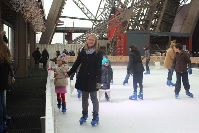 ice skating on the Eiffel Tower