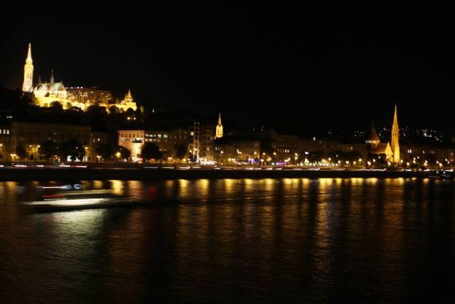 danube river at night in budapest