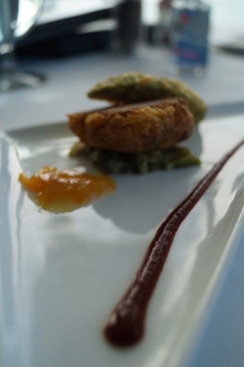 dungeness crab cake, fried avocado, new mexico chili sauce photo courtesy of The Harrises of Chicago