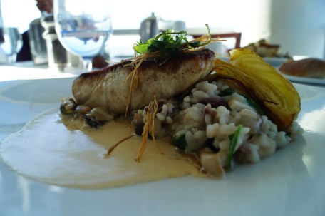 sea bass - foraged mushroom risotto - mussel borride - braised fennel photo courtesy of The Harrises of Chicago