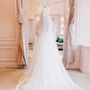 This 2 tier italian tulle has Bianca Lace from the fingertip down all around the hem. Click to shop our gorgeous veils.