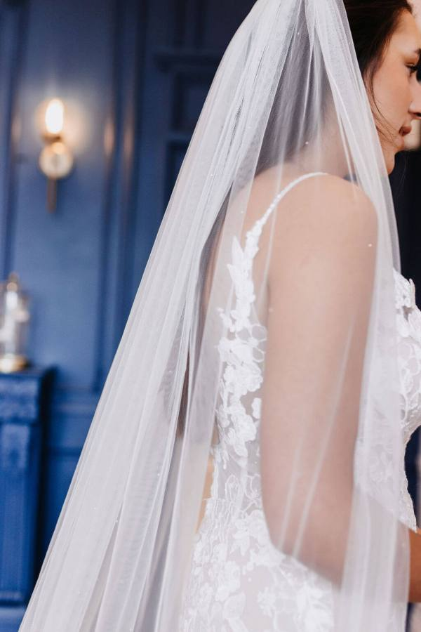 This gorgeous single tier veil in classic tulle has a scatter of Swarovski crystals all over for extra glam. Click to shop Vivi.