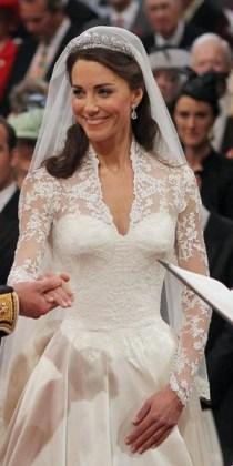 Wearing Alexander McQueen during her wedding ceremony to Prince William