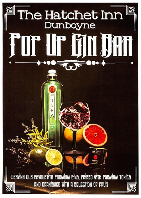 Pop up gin bar at The Hatchet Inn