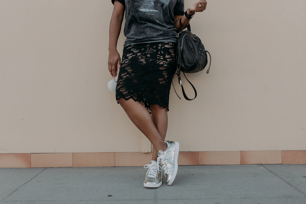 Stan Smiths + A Lace Pencil skirt = chic // https://thehautemommie.com/3-outfits-in-1/
