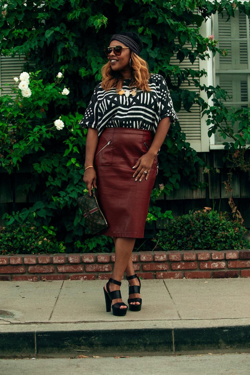 Rebel Citizen Mudcloth Shirt + Leather Skirt // https://thehautemommie.com/black-girl-magic/