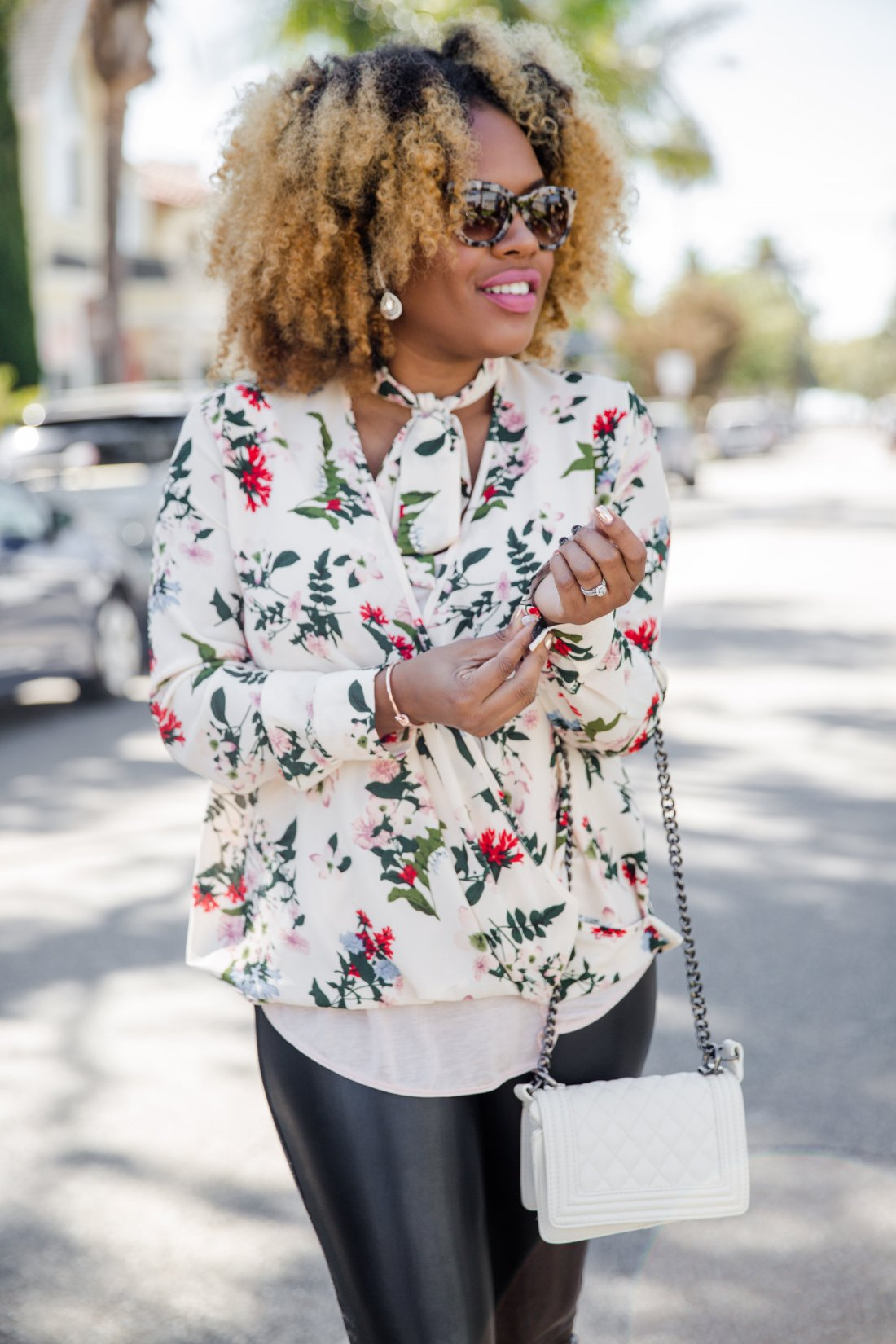 Florals + Leather = Bad Ass // https://thehautemommie.com/leopard-is-a-neutral/