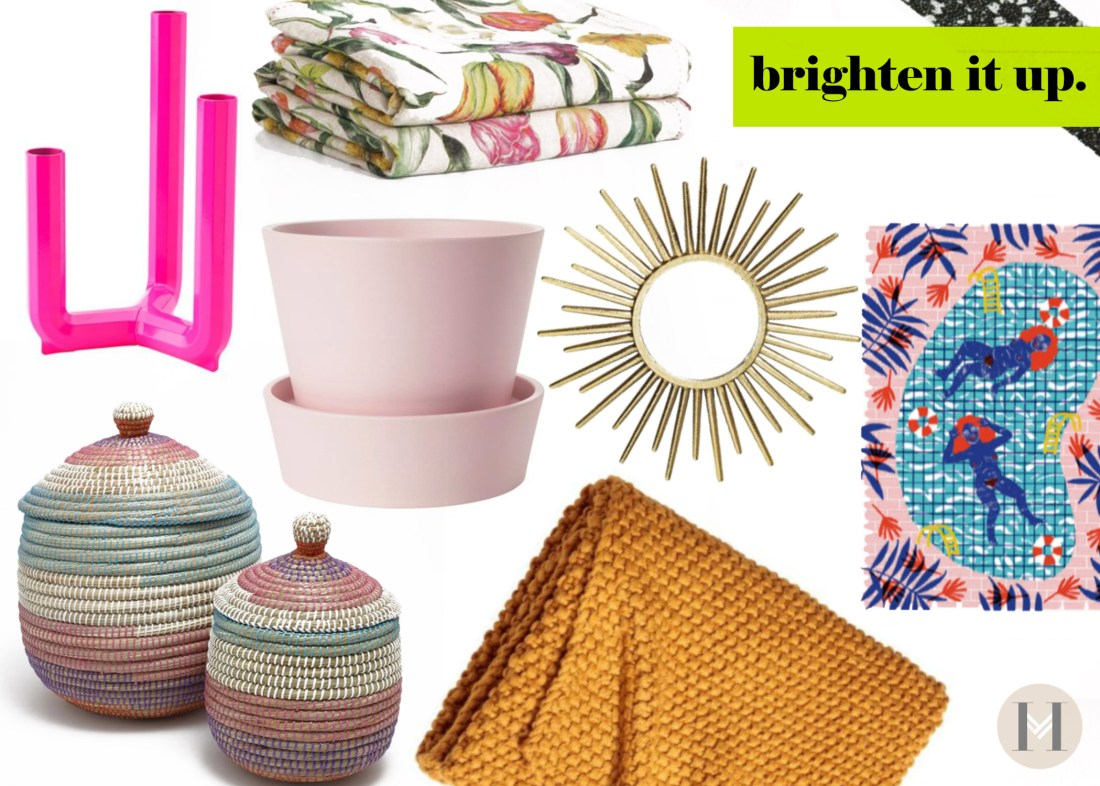 Bright colors for textiles and decor pieces for spring make home pop!