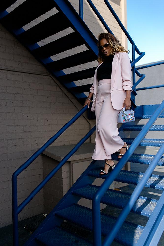 Hautemommie rocks Zara pink suit and Chloe sunglasses