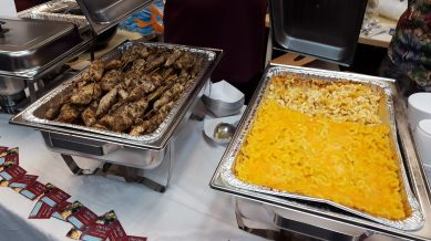 Jerk Skewers and Macaroni and Cheese from Chef Sy's Catering