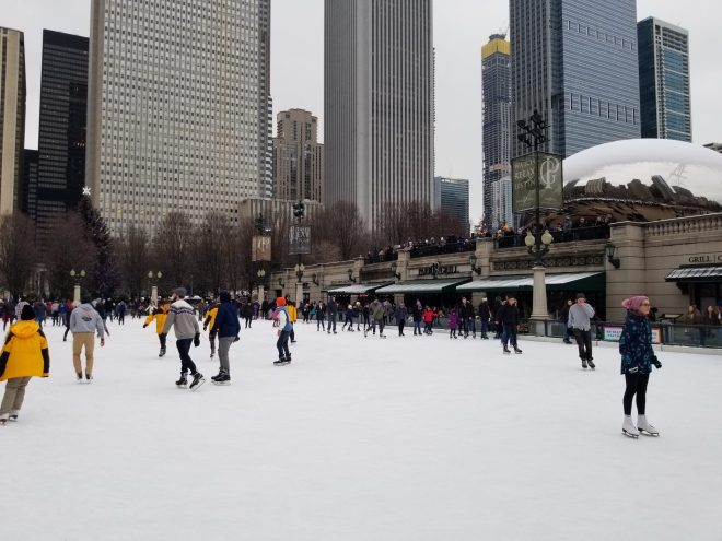 people ice skating at Millennium Park in Chicago image featured in January events guide 2020 on The Haute Seeker
