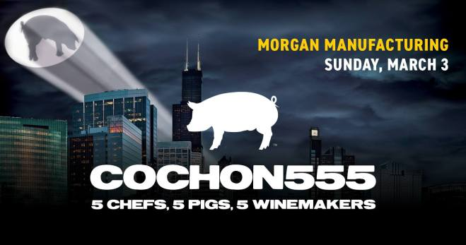 Flyer for Cochon555 in Chicago featured in the March Guide of Events in Chicago 2019 on TheHauteSeeker.com