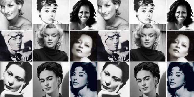 Grid of iconic and famous women in black in white photographs image featured on  ways to celebrate Women's History Month in Chicago on The Haute Seeker